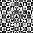Seamless black and white christmas — Vector de stock