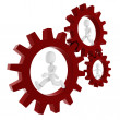 3d man inside a gear wheel — Stock Photo