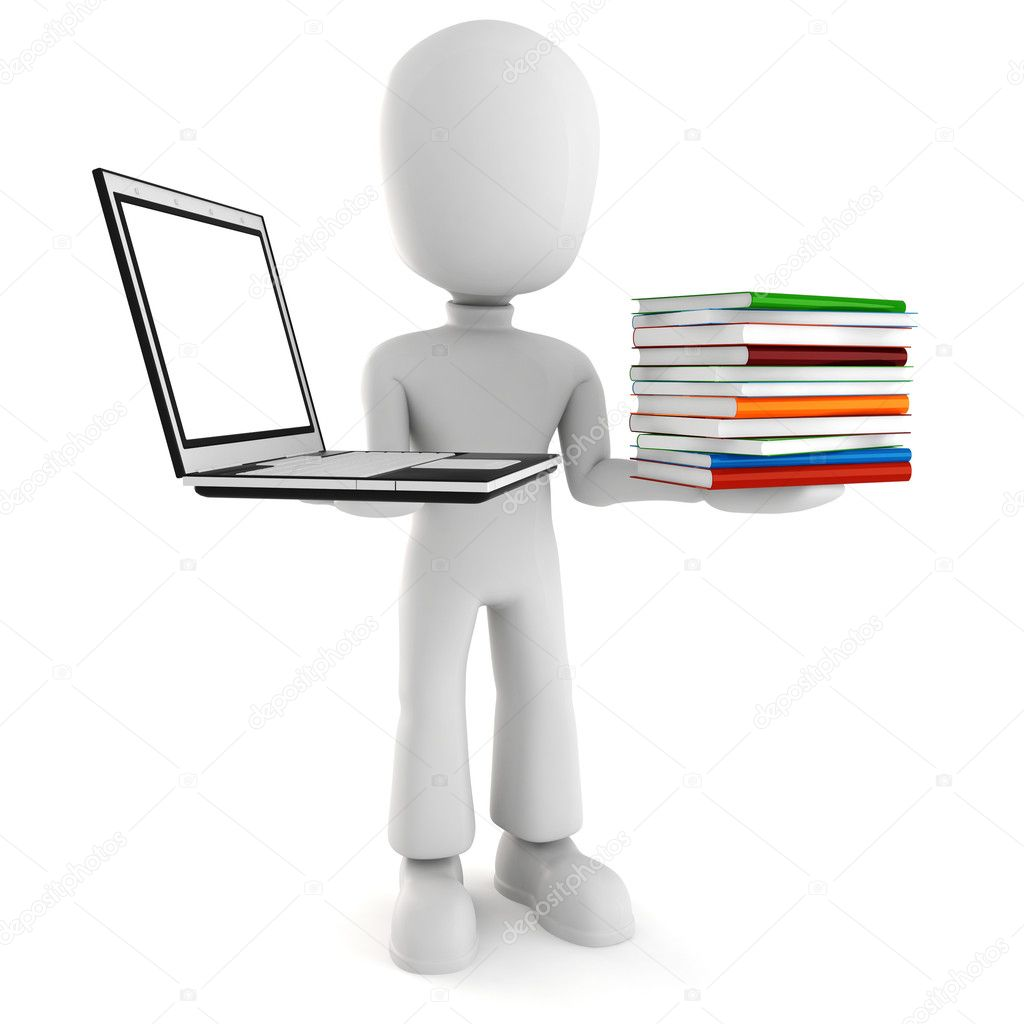 3d man holding a laptopp and some books — Stock Photo #2968041