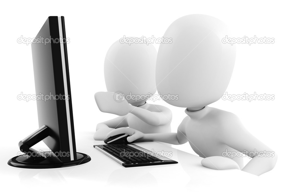3d man working at computer - stock image
