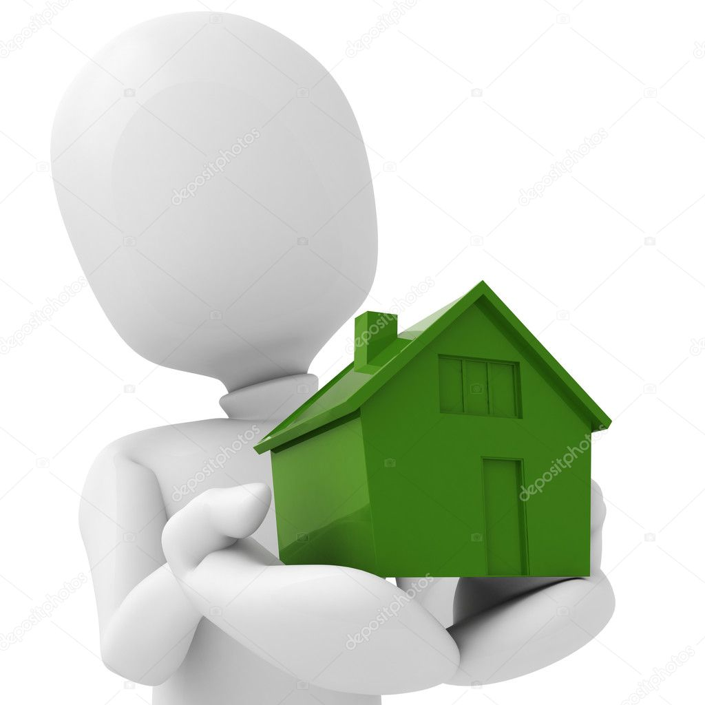 3d man holding a miniature house in his hands — Photo #3564240