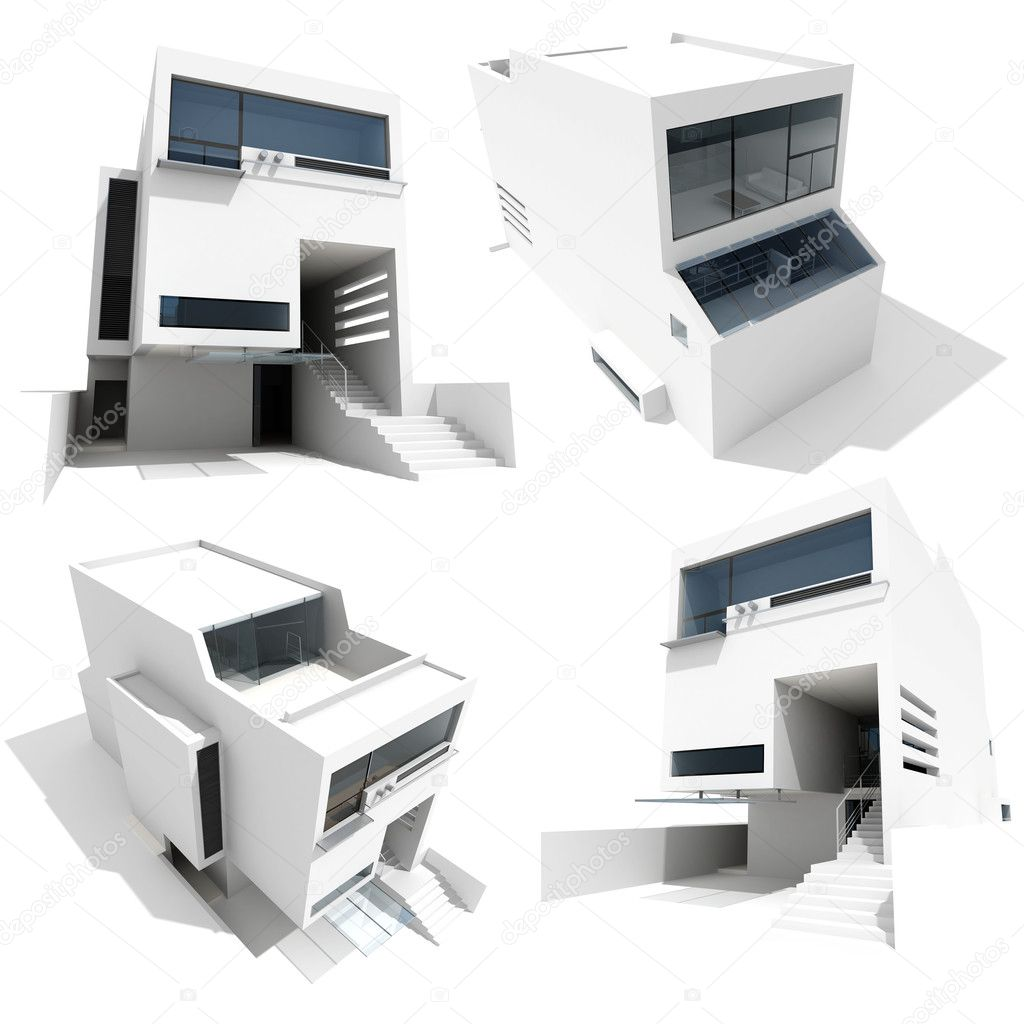 3d modern house on white background stock photo digitalgenetics 3564273. Black Bedroom Furniture Sets. Home Design Ideas
