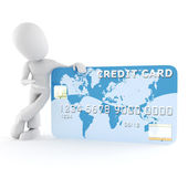 3d man surfing on a credit card — Stock Photo