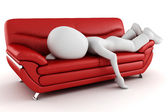 3d man tired, sleeping on the couch — Stock Photo