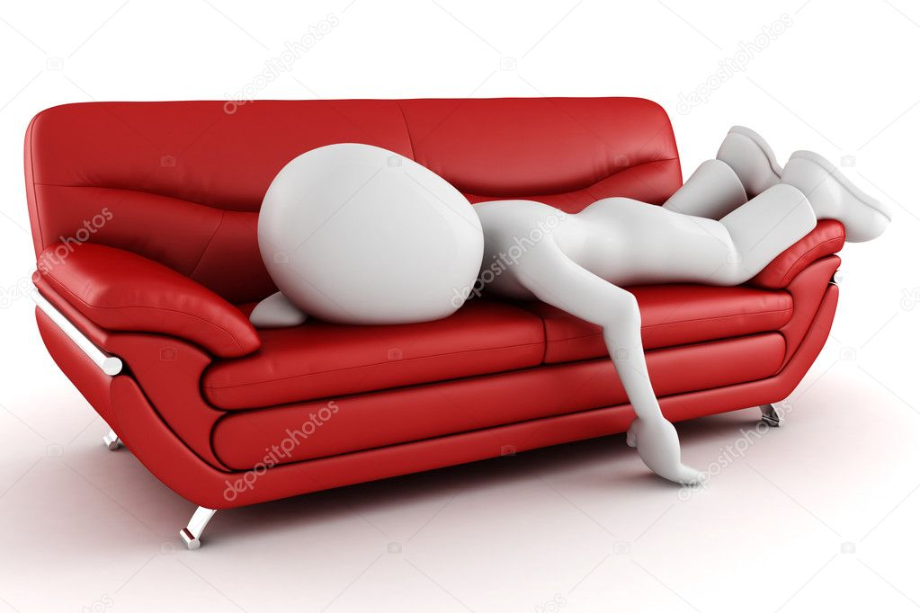3d man tired, sleeping on the couch  Stock Photo #3692158