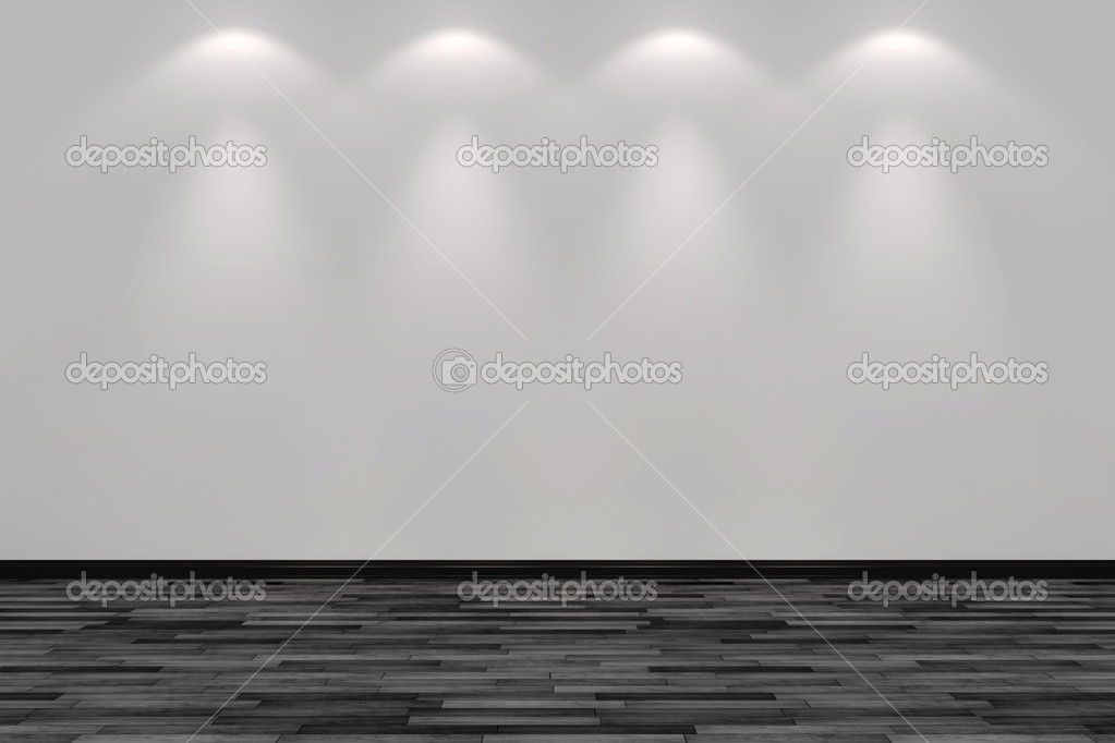 Blank room wall lit by four spot lights stock photo for Four blank walls