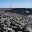Stock Photo: Black stone beach