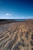 Negra y arena de la playa — Stockfoto