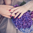 Newly married hands — Stock Photo