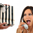 On The Phone, Surprised - Stock Photo