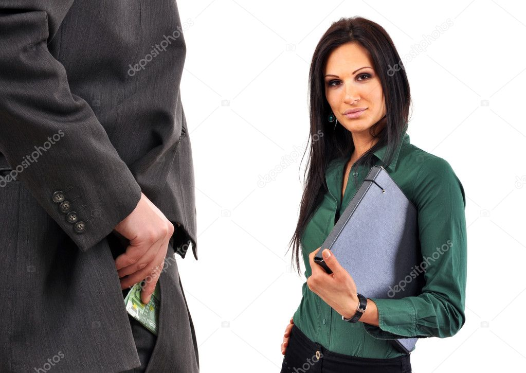Business man is bribing a female coleague. — Stock Photo #3487503