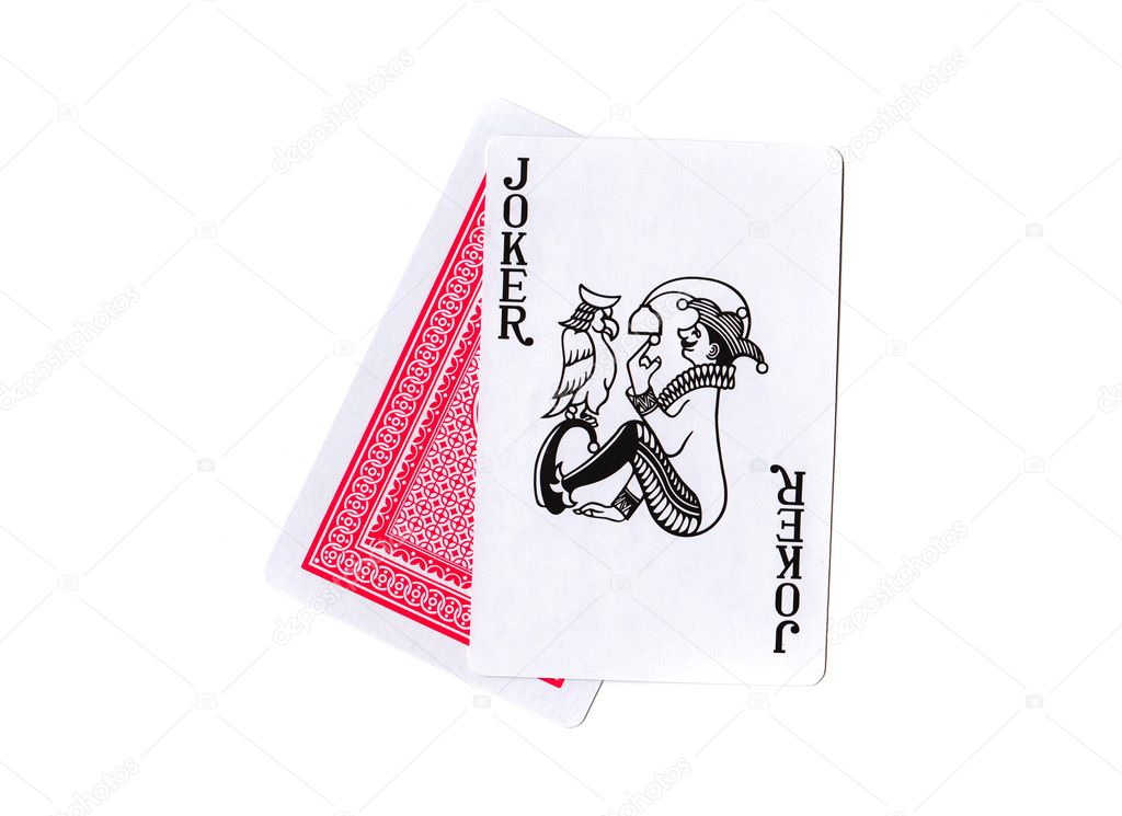 Playing cards on white background, Joker — Stock Photo #3535868