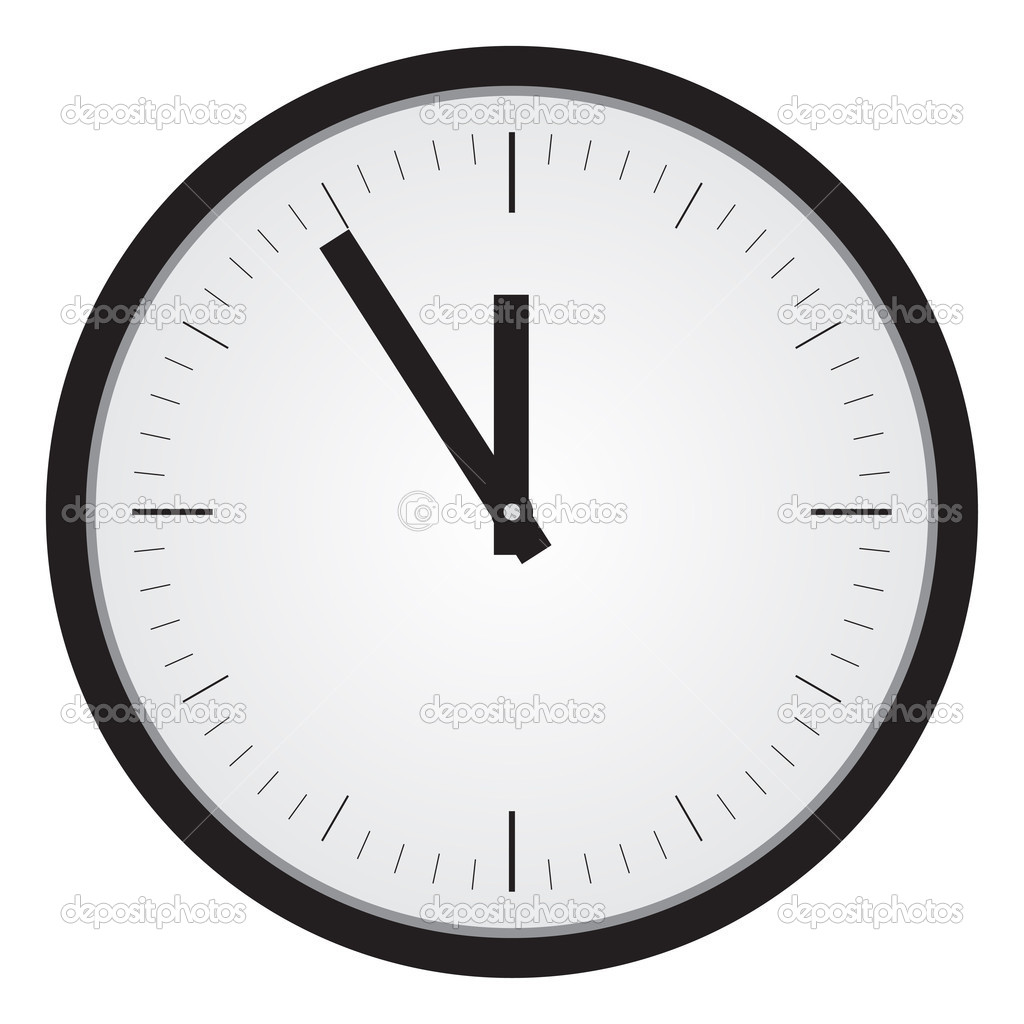 Simple black clock illustration. White background. — Stock Vector #3597217