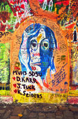 Lennon Wall, graffiti — Stock Photo