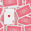 Playing cards, Ace of hearts — Stock Photo
