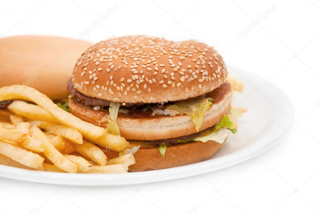 A tasty hamburger, cheeseburger and french fries. — Stock Photo #3890421