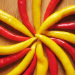 Red and yellow chili peppers. — Stock Photo