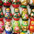 Souvenir russian dolls on magnets — Stock Photo