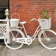 Stock Photo: Detail design summer cafe with bicycle, painted white
