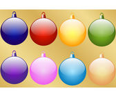 Set of 8 Christmas Baubles — Stock Vector