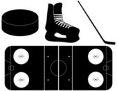 Set of Ice Hockey Silhouettes — Stock Vector