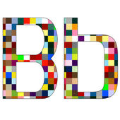 Font Set 1 Letter B Isolated on White — Stock Vector