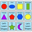 Set of Shape Flash Cards - Stok Vektr