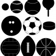 Set of Sports Ball Silhouettes — Stock Vector