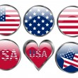 Stock Vector: Set of American Flag Buttons