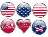 Set of American Flag Buttons — Stock Vector