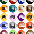 Stock Vector: Set of Colorful Shopping Cart Buttons