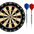 Dartboard with Darts - Stock Vector