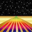 Golden Rainbow Road on a Dark, Starry Night - Stock Vector
