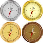 Sada čtyř kompasy — Stock vektor
