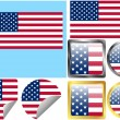 United States Flag Set — Stock Vector