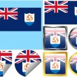 Stock Vector: Flag Set Anguilla