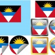 Stock Vector: Flag Set Antiguand Barbuda