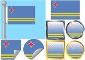 Flag Set Aruba — Stok Vektör