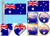 Sinalizador definido austrália — Vetor de Stock