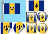 Flag Set Barbados — Stock Vector