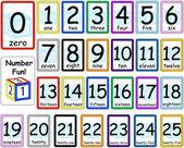 Conjunto de tarjetas de números 0-25 — Vector de stock