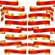Set of Red Banner Scrolls with Golden Accents — Stock Vector