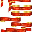 Stock Vector: Set of Red Christmas Holiday Banners with Golden Accents