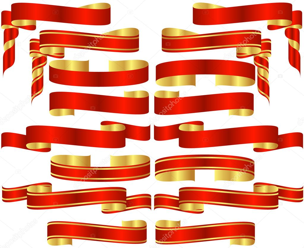 Set of Red Banner Scrolls with Golden Accents — Stock Vector #3863654