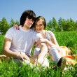 Boy and girl are jumping — Stock Photo #3231631