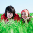 Boy and girl in kerchief — Stock Photo