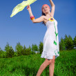 Nice girl in white dress with kerchief — Stock Photo
