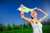Beautiful girl with kerchief — Stock Photo