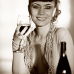 Cheerful girl with wineglass — Stock Photo