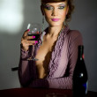 Girl with wineglass — Stock Photo